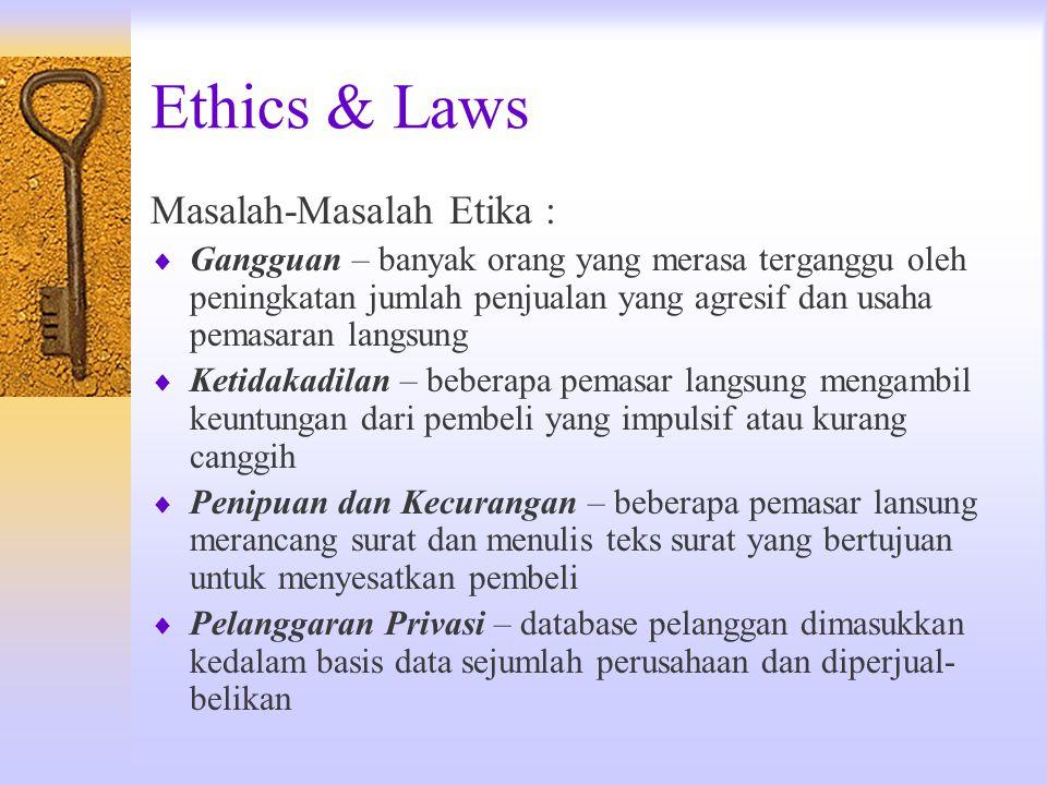 Ethics & Laws Masalah-Masalah Etika :  Gangguan – banyak orang yang merasa terganggu oleh peningkatan jumlah penjualan yang agresif dan usaha pemasar