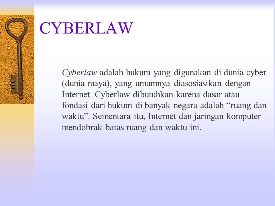 CYBERLAW Cyberlaw adalah hukum yang digunakan di dunia cyber (dunia maya), yang umumnya diasosiasikan dengan Internet. Cyberlaw dibutuhkan karena dasa