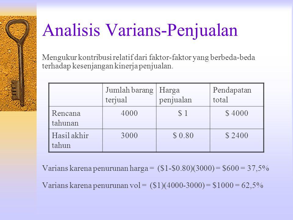 Analisis Varians-Penjualan Mengukur kontribusi relatif dari faktor-faktor yang berbeda-beda terhadap kesenjangan kinerja penjualan. Varians karena pen