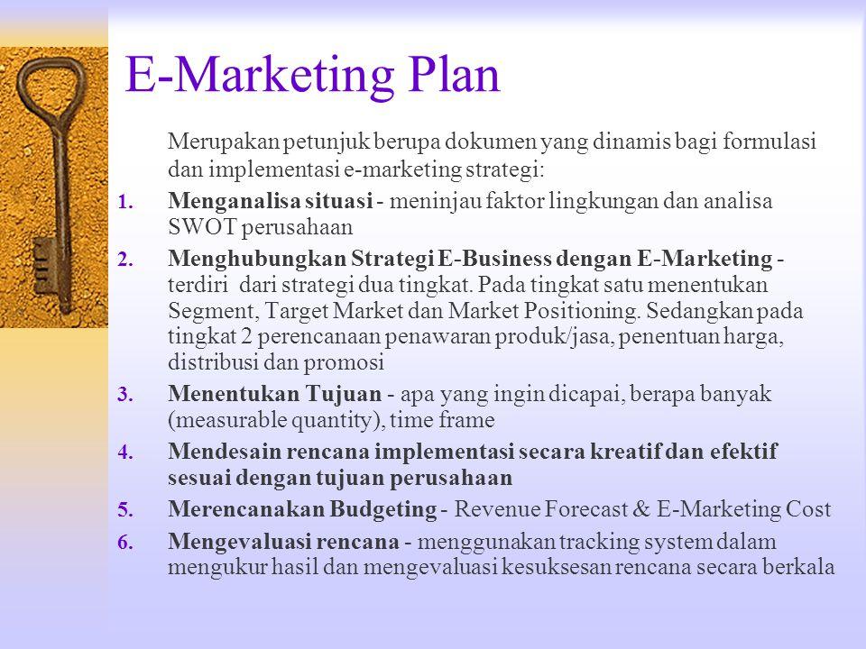 E-Marketing Plan Merupakan petunjuk berupa dokumen yang dinamis bagi formulasi dan implementasi e-marketing strategi: 1. Menganalisa situasi - meninja