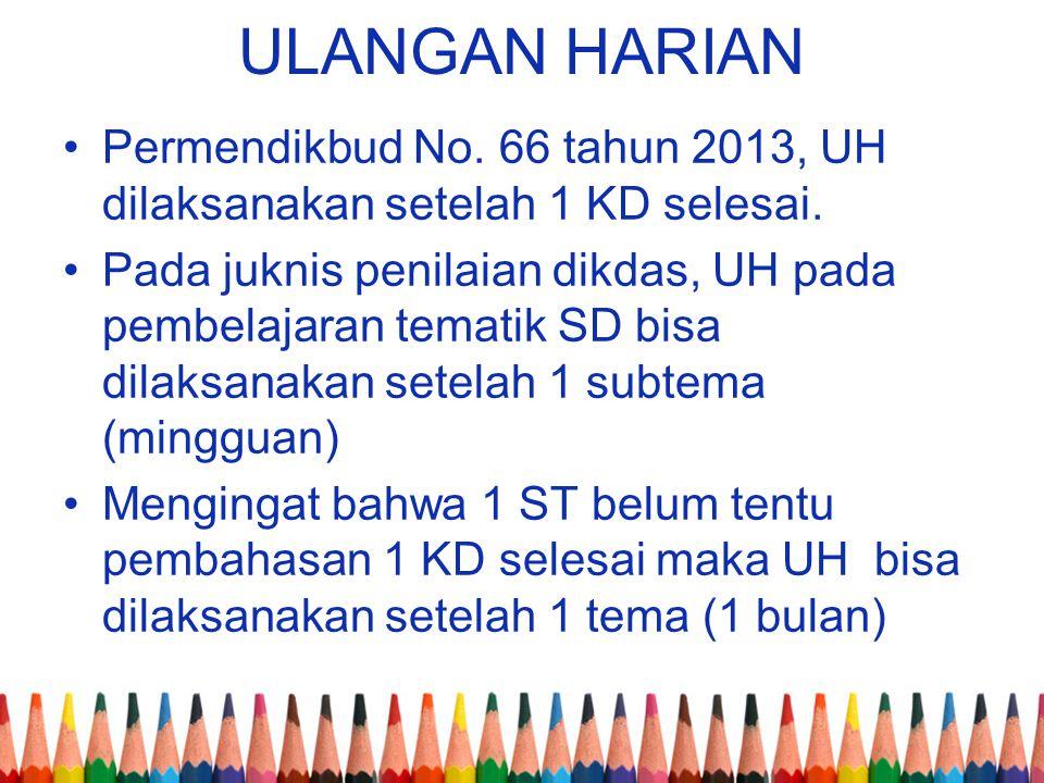 ULANGAN HARIAN Permendikbud No. 66 tahun 2013, UH dilaksanakan setelah 1 KD selesai. Pada juknis penilaian dikdas, UH pada pembelajaran tematik SD bis