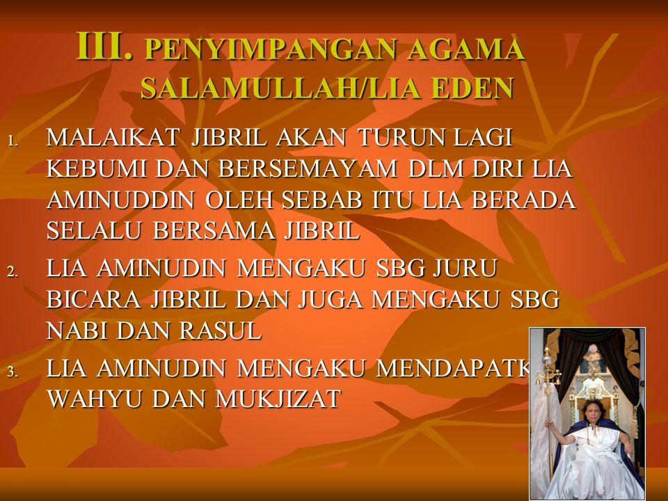 III.PENYIMPANGAN AGAMA SALAMULLAH/LIA EDEN 1.