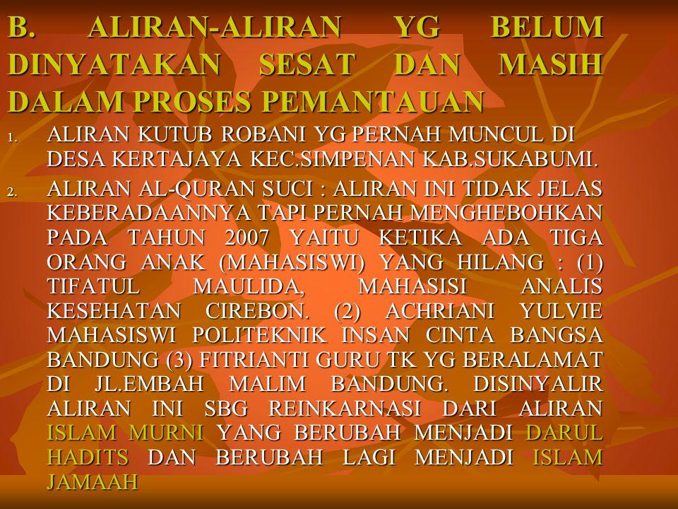 B.ALIRAN-ALIRAN YG BELUM DINYATAKAN SESAT DAN MASIH DALAM PROSES PEMANTAUAN 1.