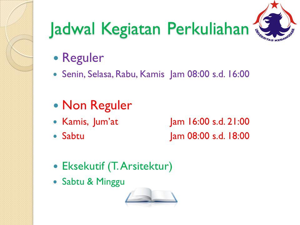 Jadwal Kegiatan Perkuliahan Reguler Senin, Selasa, Rabu, KamisJam 08:00 s.d.