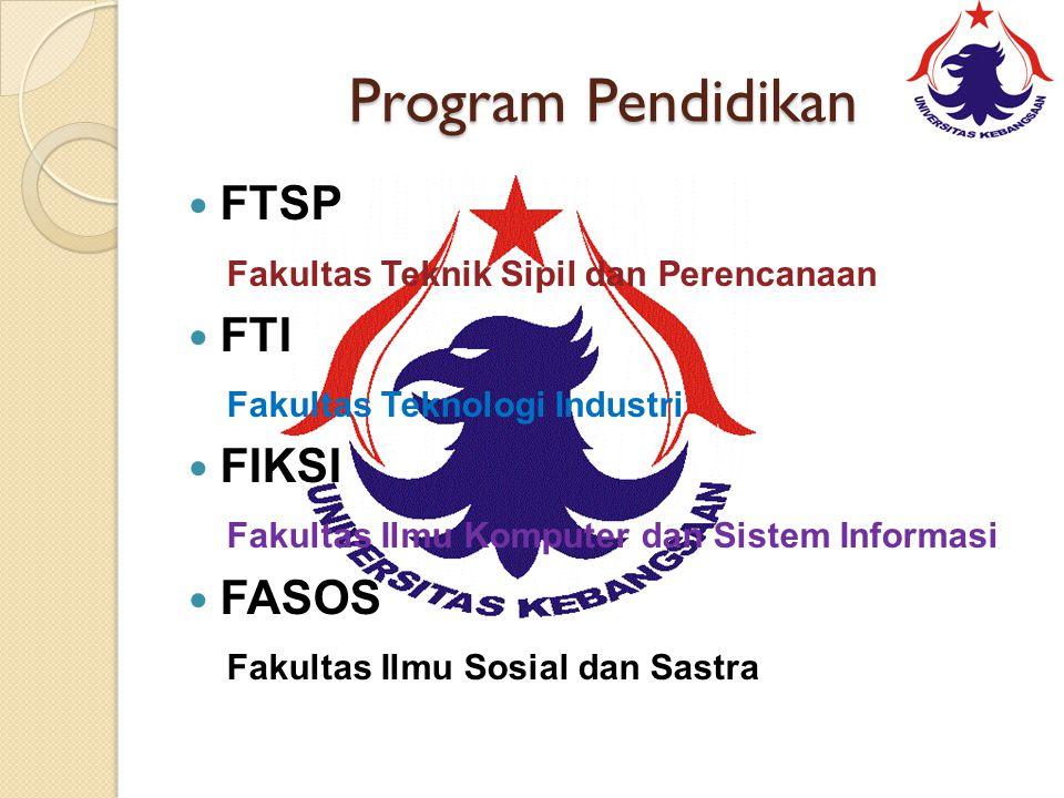 Program Pendidikan FTSP Fakultas Teknik Sipil dan Perencanaan FTI Fakultas Teknologi Industri FIKSI Fakultas Ilmu Komputer dan Sistem Informasi FASOS Fakultas Ilmu Sosial dan Sastra