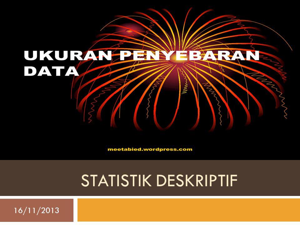 STATISTIK DESKRIPTIF 16/11/2013 Resista Vikaliana, S.Si. MM 1