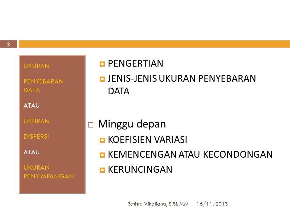 VARIANS: Data Tunggal 16/11/2013 Resista Vikaliana, S.Si. MM 32