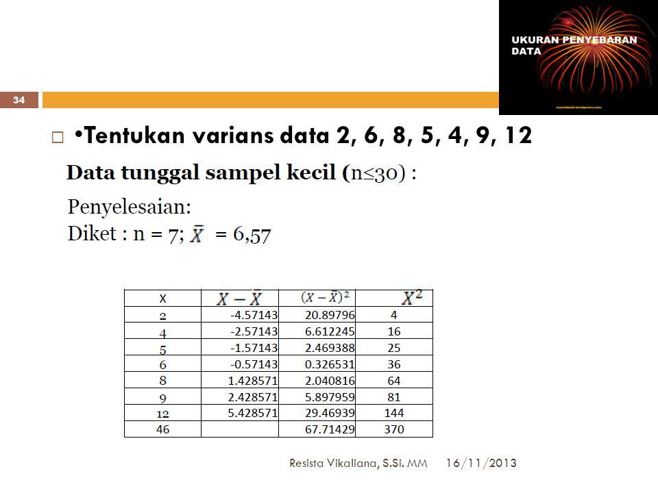 VARIANS: Data Kelompok 16/11/2013 Resista Vikaliana, S.Si. MM 33