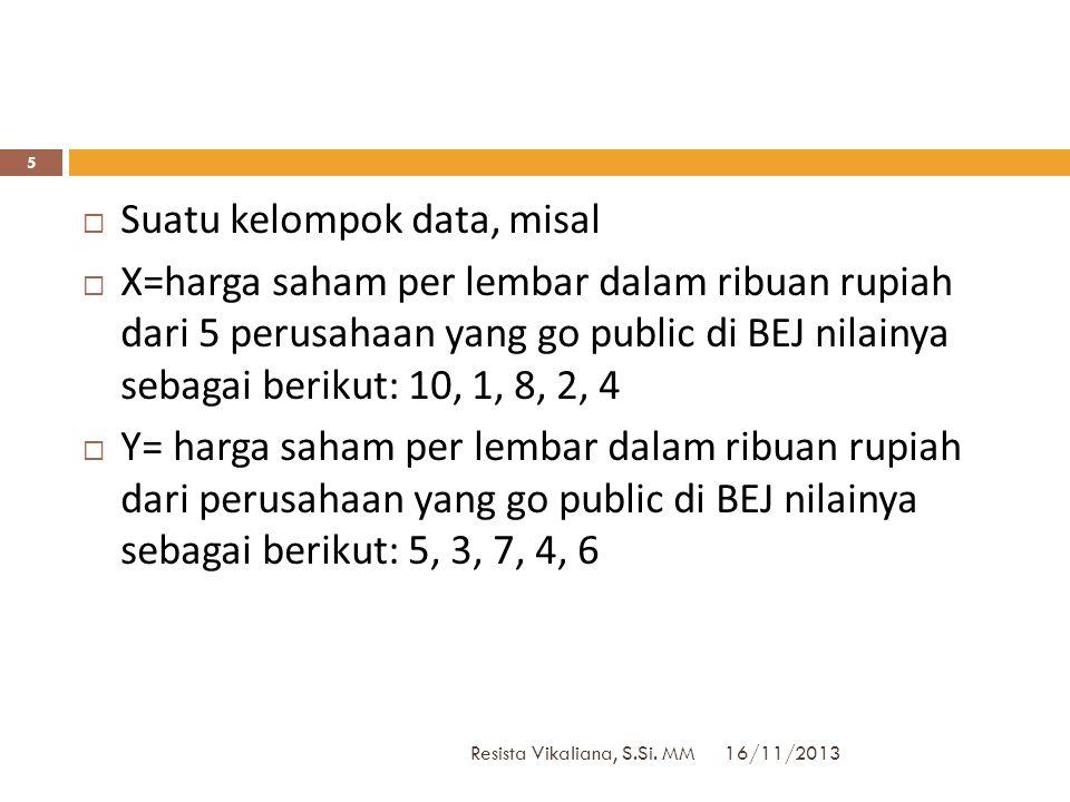 16/11/2013 Resista Vikaliana, S.Si. MM 4  Ukuran yang menyatakan seberapa jauh penyimpangan nilai-nilai dalam distribusi data dari nilai pusatnya  U