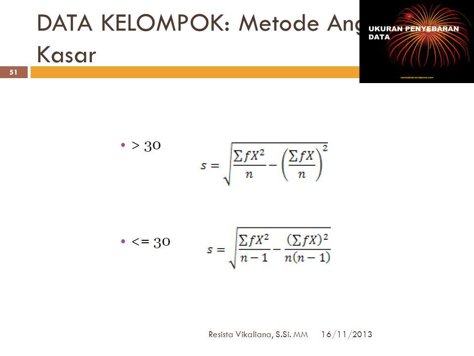 DATA KELOMPOK: Metode Biasa 16/11/2013 Resista Vikaliana, S.Si. MM 50