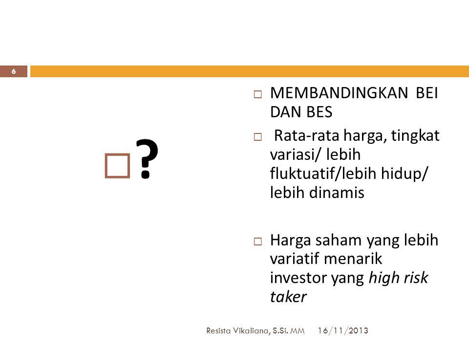 16/11/2013 Resista Vikaliana, S.Si. MM 5  Suatu kelompok data, misal  X=harga saham per lembar dalam ribuan rupiah dari 5 perusahaan yang go public