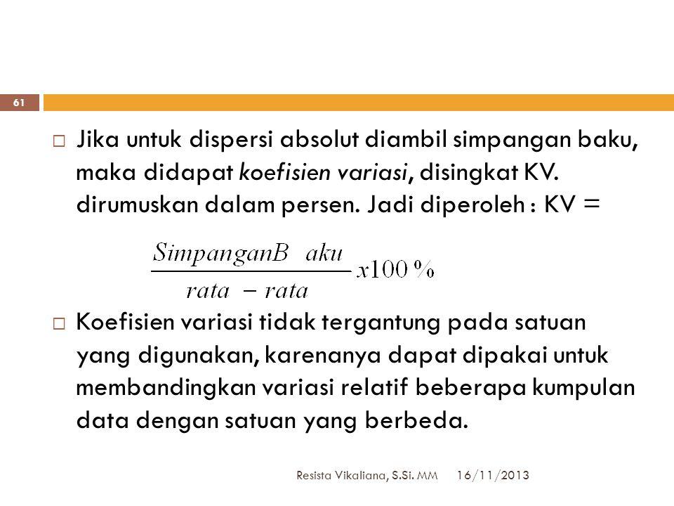 16/11/2013 Resista Vikaliana, S.Si. MM 60  Ukuran variasi atau dispersi yang diuraikan dalam bagian-bagian lalu merupakan dispersi absolut. Variasi 5