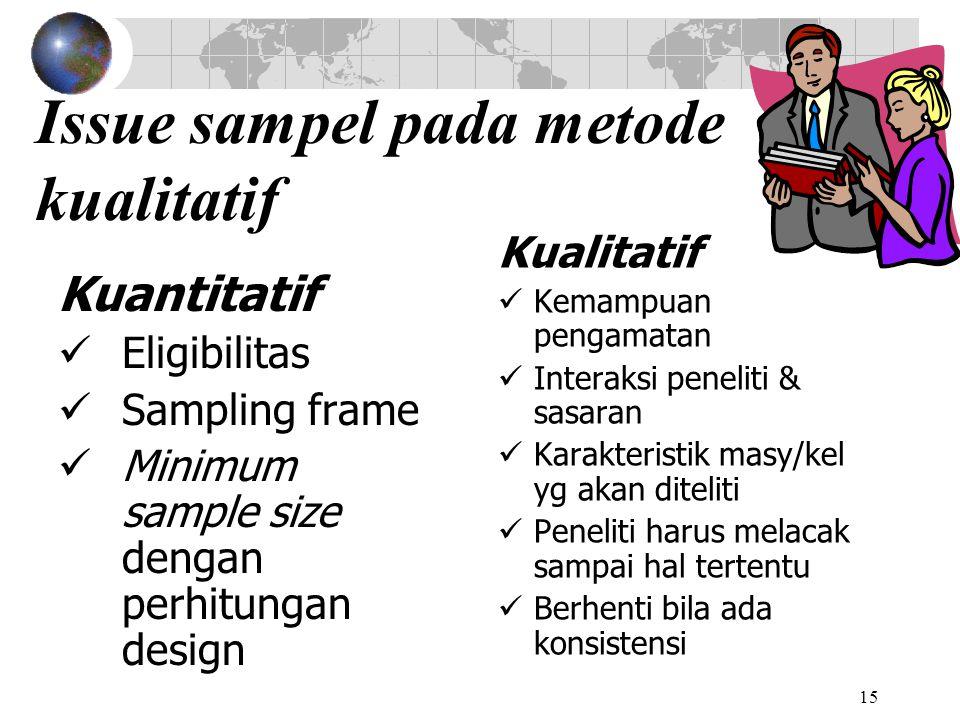 15 Issue sampel pada metode kualitatif Kuantitatif Eligibilitas Sampling frame Minimum sample size dengan perhitungan design Kualitatif Kemampuan pengamatan Interaksi peneliti & sasaran Karakteristik masy/kel yg akan diteliti Peneliti harus melacak sampai hal tertentu Berhenti bila ada konsistensi