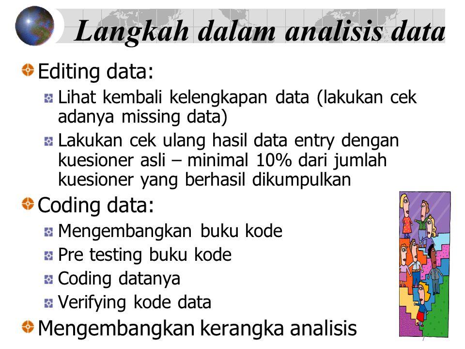 7 Langkah dalam analisis data Editing data: Lihat kembali kelengkapan data (lakukan cek adanya missing data) Lakukan cek ulang hasil data entry dengan
