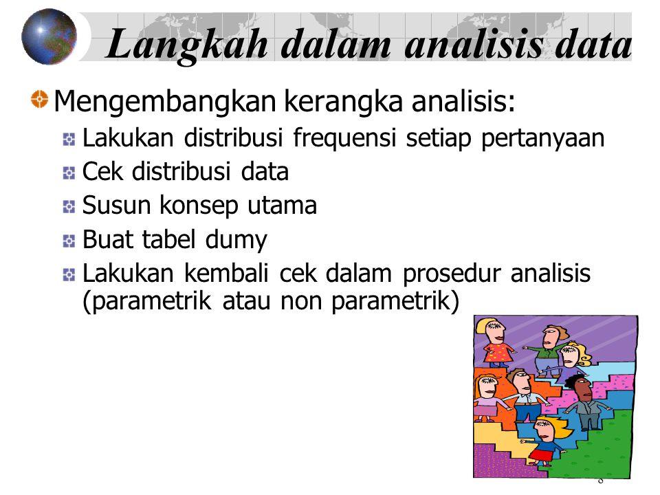 8 Langkah dalam analisis data Mengembangkan kerangka analisis: Lakukan distribusi frequensi setiap pertanyaan Cek distribusi data Susun konsep utama Buat tabel dumy Lakukan kembali cek dalam prosedur analisis (parametrik atau non parametrik)