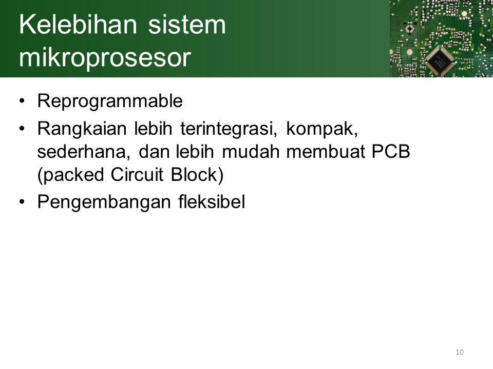 10 Kelebihan sistem mikroprosesor Reprogrammable Rangkaian lebih terintegrasi, kompak, sederhana, dan lebih mudah membuat PCB (packed Circuit Block) P