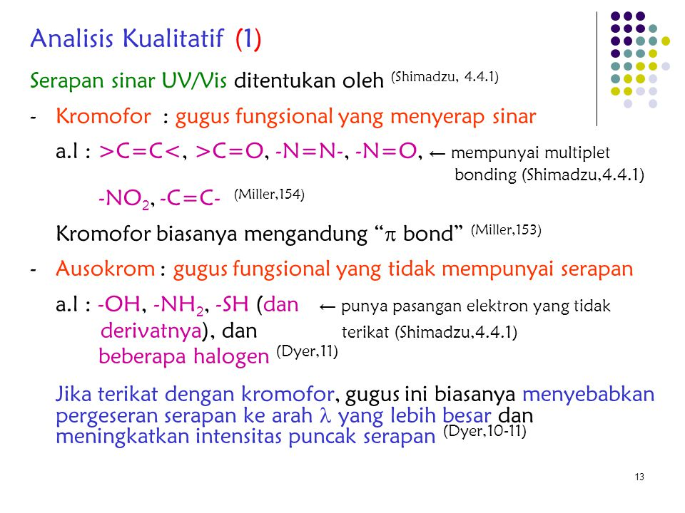 13 Serapan sinar UV/Vis ditentukan oleh (Shimadzu, 4.4.1) - Kromofor : gugus fungsional yang menyerap sinar a.l : >C=C C=O, -N=N-, -N=O, ← mempunyai m