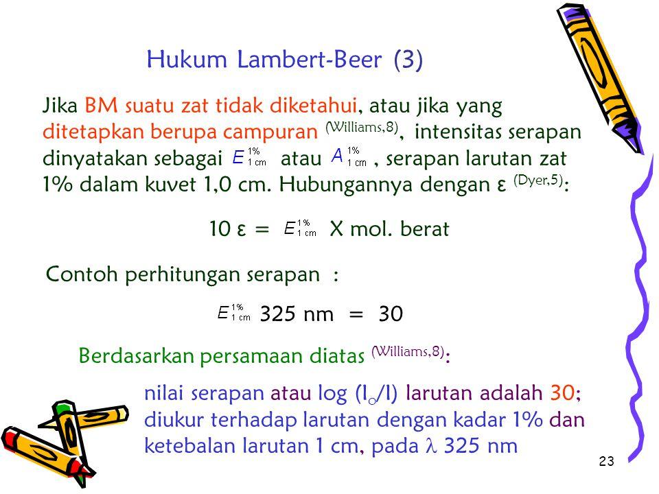 23 Jika BM suatu zat tidak diketahui, atau jika yang ditetapkan berupa campuran (Williams,8), intensitas serapan dinyatakan sebagai atau, serapan laru