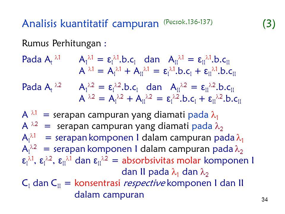 34 Rumus Perhitungan : Pada A t 1 A 1 1 = ε I 1.b.c I dan A II 1 = ε II 1.b.c II A 1 = A I 1 + A II 1 = ε I 1.b.c I + ε II 1.b.c II Pada A t 2 A 1 2 =