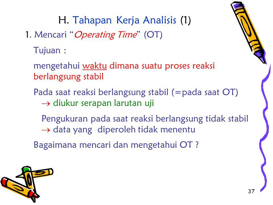"""37 H. Tahapan Kerja Analisis (1) 1. Mencari """"Operating Time"""" (OT) Tujuan : mengetahui waktu dimana suatu proses reaksi berlangsung stabil Pada saat re"""