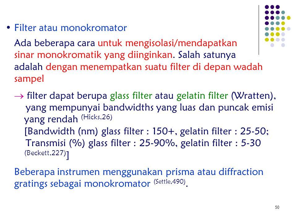 50 Filter atau monokromator Ada beberapa cara untuk mengisolasi/mendapatkan sinar monokromatik yang diinginkan. Salah satunya adalah dengan menempatka