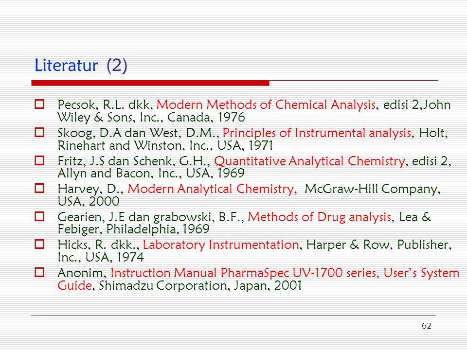 62 Literatur (2)  Pecsok, R.L. dkk, Modern Methods of Chemical Analysis, edisi 2,John Wiley & Sons, Inc., Canada, 1976  Skoog, D.A dan West, D.M., P