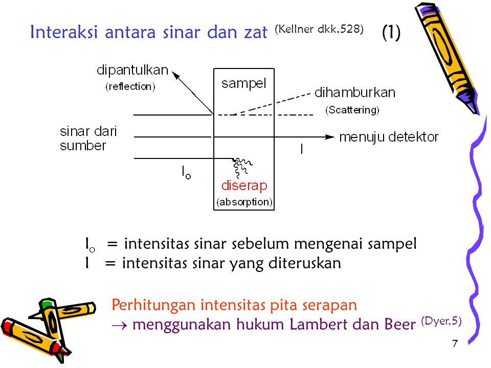 18 Untuk keperluan kuantitatif : diperlukan ε maks besar  agar konsentrasi larutan uji encer/kecil larutan uji biasanya sangat encer (c ≤ 0,1 mol/L) (Kellner,528)  1 mg (jika BM 100-200) dilarutkan hingga 100 ml (Williams,2) Jika pekat  yang dipantulkan yang dihamburkan  besar, sedangkan yang diserap yang diteruskan : kecil Yang dibutuhkan, yang diteruskan : besar nilai maksimal serapan (A) adalah 1,0  A yang digunakan : 0,2 – 0,8 [0,2 - 0,650 (Willard,90) ] atau T : 15 – 75% Angka ini dipilih untuk meminimalkan errorr dari alat Analisis Kuantitatif (1)