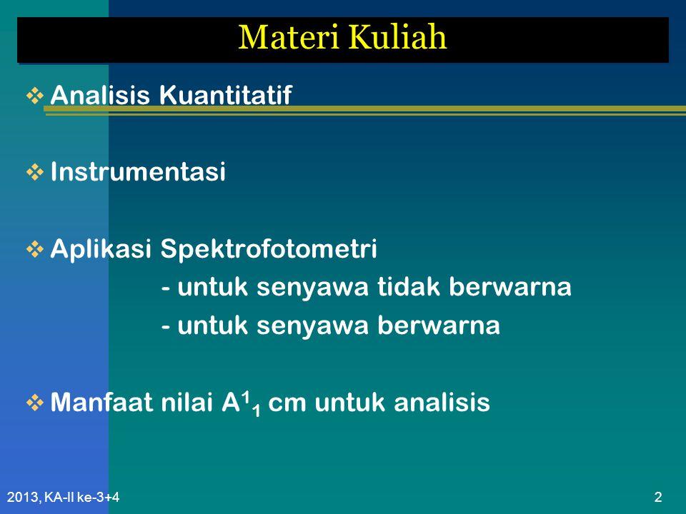2013, KA-II ke-3+423 Rumus Pendekatan Nilai E tersebut harus dinyatakan: - pada pelarut tertentu - pada tertentu