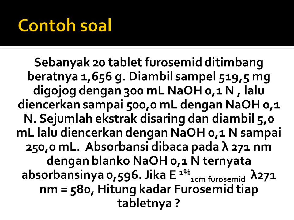 Sebanyak 20 tablet furosemid ditimbang beratnya 1,656 g. Diambil sampel 519,5 mg digojog dengan 300 mL NaOH 0,1 N, lalu diencerkan sampai 500,0 mL den