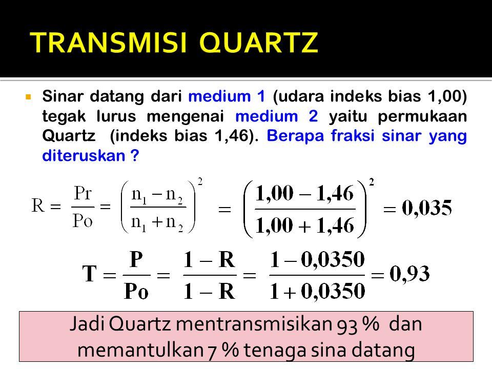  Sinar datang dari medium 1 (udara indeks bias 1,00) tegak lurus mengenai medium 2 yaitu permukaan Quartz (indeks bias 1,46). Berapa fraksi sinar yan