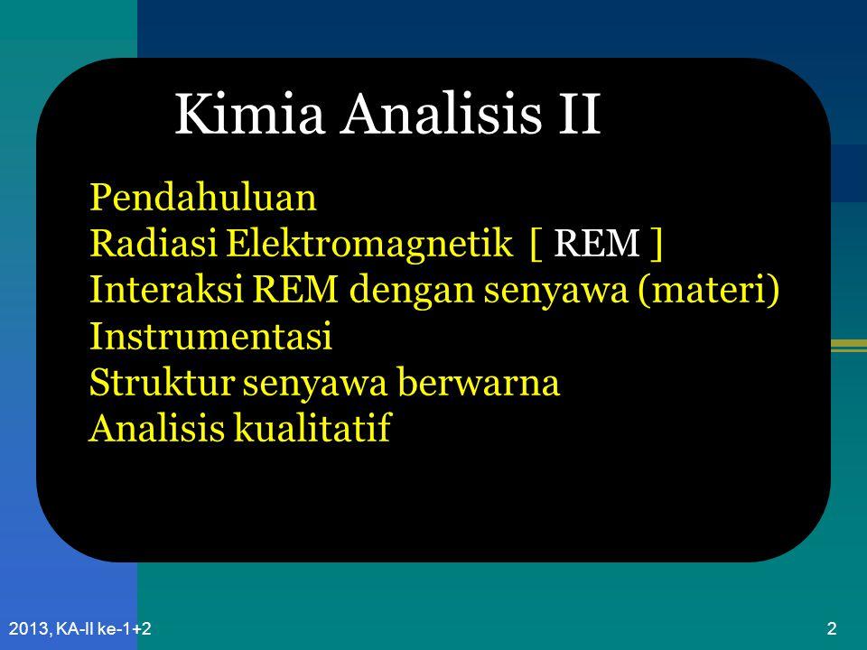 1232013, KA-II ke-1+2 -UV jauh, 100 – 190 nm Instrumen yang ada umumnya dioperasikan di daerah UV-dekat, karena : Silica (bahan kuvet, optik) & Oksigen atmosfer Menghalangi pengukuran di daerah UV-jauh Daerah UV dan Visibel Ultra violet dekat: 190 – 400 Visibel : 400 – 800 nm