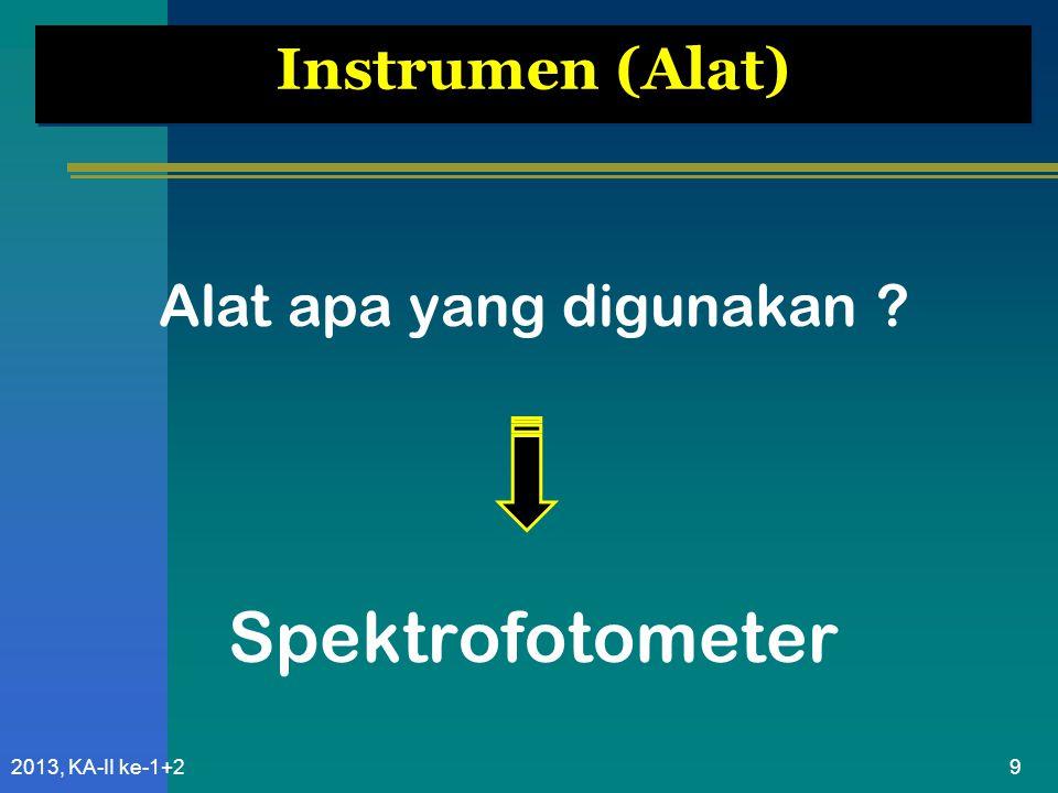 102013, KA-II ke-1+2 alat yang digunakan untuk mempelajari absorpsi atau emisi radiasi elektromagnetik sebagai fungsi panjang gelombang Spektrofotometer