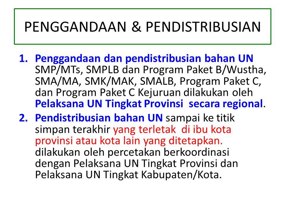 PENGGANDAAN & PENDISTRIBUSIAN 1.Penggandaan dan pendistribusian bahan UN SMP/MTs, SMPLB dan Program Paket B/Wustha, SMA/MA, SMK/MAK, SMALB, Program Paket C, dan Program Paket C Kejuruan dilakukan oleh Pelaksana UN Tingkat Provinsi secara regional.