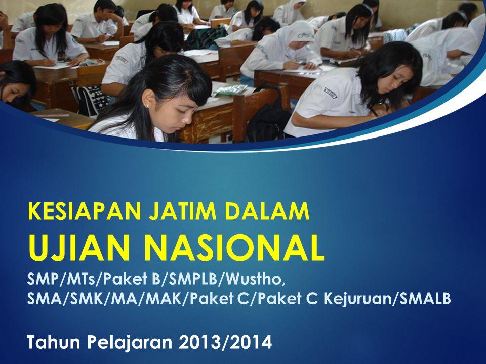 KESIAPAN JATIM DALAM UJIAN NASIONAL SMP/MTs/Paket B/SMPLB/Wustho, SMA/SMK/MA/MAK/Paket C/Paket C Kejuruan/SMALB Tahun Pelajaran 2013/2014
