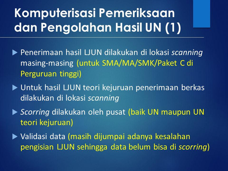 Komputerisasi Pemeriksaan dan Pengolahan Hasil UN (1)  Penerimaan hasil LJUN dilakukan di lokasi scanning masing-masing (untuk SMA/MA/SMK/Paket C di