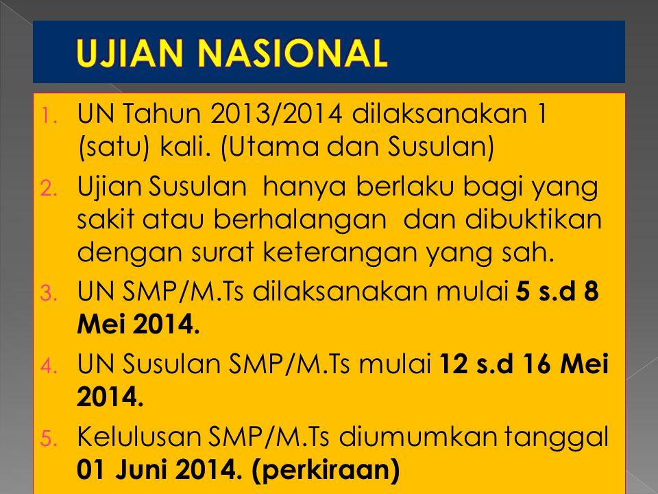 1. UN Tahun 2013/2014 dilaksanakan 1 (satu) kali. (Utama dan Susulan) 2. Ujian Susulan hanya berlaku bagi yang sakit atau berhalangan dan dibuktikan d