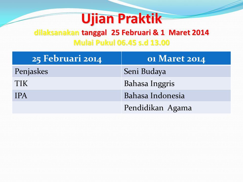 Ujian Praktik dilaksanakan tanggal 25 Februari & 1 Maret 2014 Mulai Pukul 06.45 s.d 13.00 25 Februari 201401 Maret 2014 PenjaskesSeni Budaya TIKBahasa