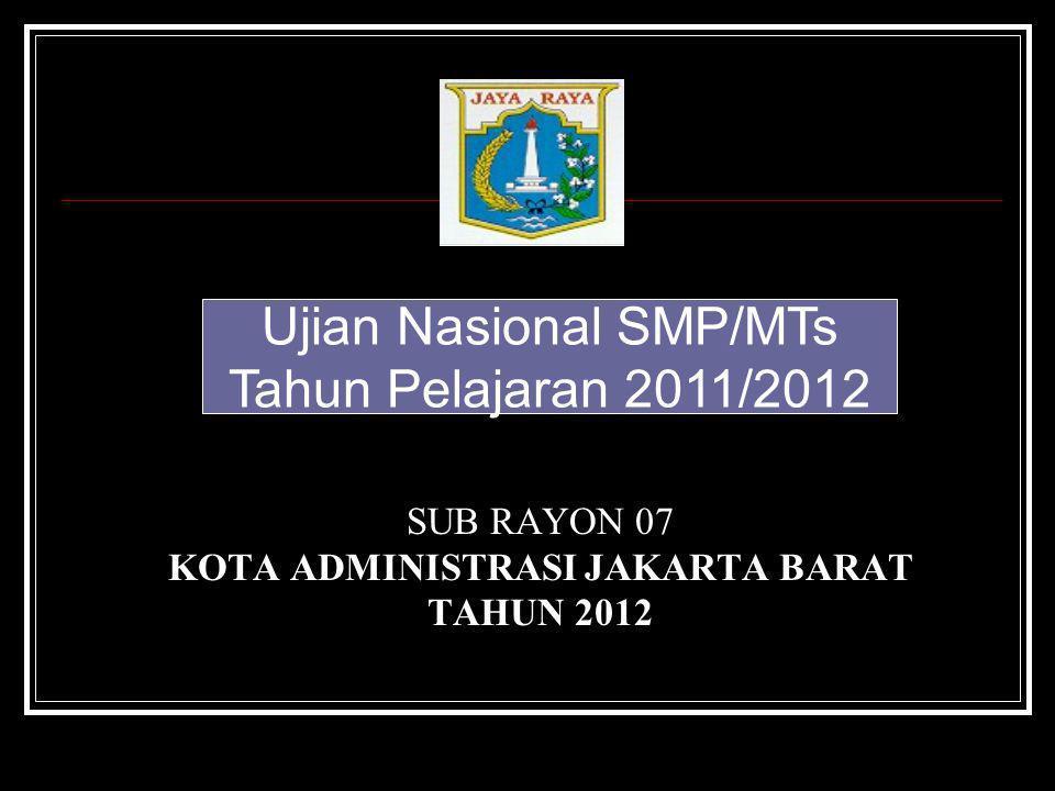 SUB RAYON 07 KOTA ADMINISTRASI JAKARTA BARAT TAHUN 2012 Ujian Nasional SMP/MTs Tahun Pelajaran 2011/2012