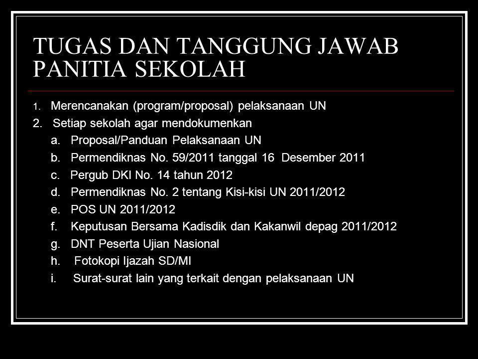 TUGAS DAN TANGGUNG JAWAB PANITIA SEKOLAH 1.Merencanakan (program/proposal) pelaksanaan UN 2.