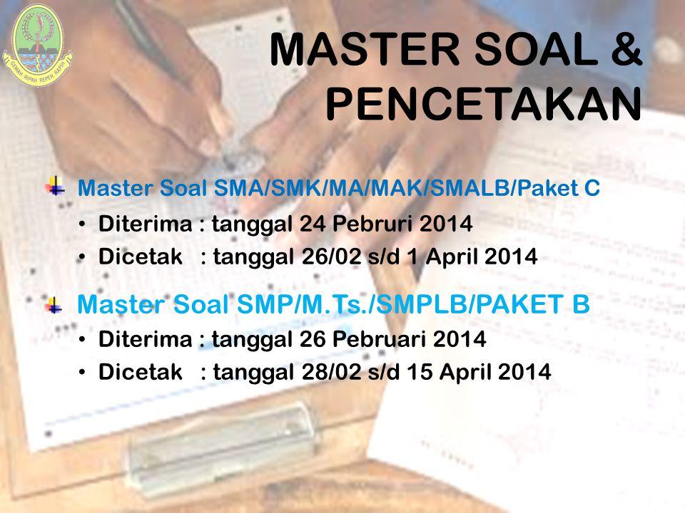 MASTER SOAL & PENCETAKAN Master Soal SMA/SMK/MA/MAK/SMALB/Paket C Diterima : tanggal 24 Pebruri 2014 Dicetak : tanggal 26/02 s/d 1 April 2014 Master S
