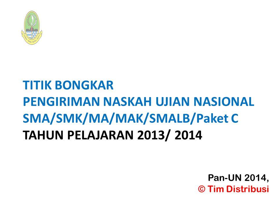 TITIK BONGKAR PENGIRIMAN NASKAH UJIAN NASIONAL SMA/SMK/MA/MAK/SMALB/Paket C TAHUN PELAJARAN 2013/ 2014 Pan-UN 2014, © Tim Distribusi