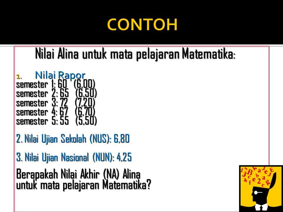  Berdasarkan Nilai Akhir (NA), dengan menggunakan rumus : Lulus, jika rata-rata NA keseluruhan minimal 5,5 dan NA per-mata pelajaran minimal 4,0 NA =