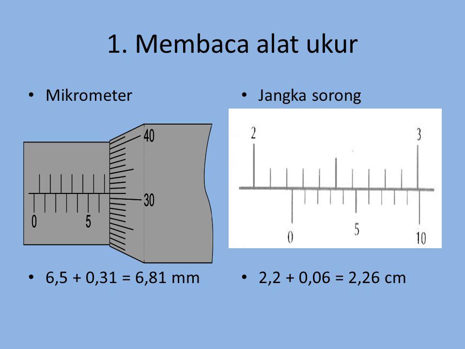 1. Membaca alat ukur Mikrometer 6,5 + 0,31 = 6,81 mm Jangka sorong 2,2 + 0,06 = 2,26 cm