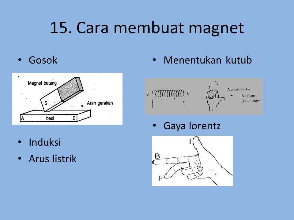 15. Cara membuat magnet Gosok Induksi Arus listrik Menentukan kutub Gaya lorentz