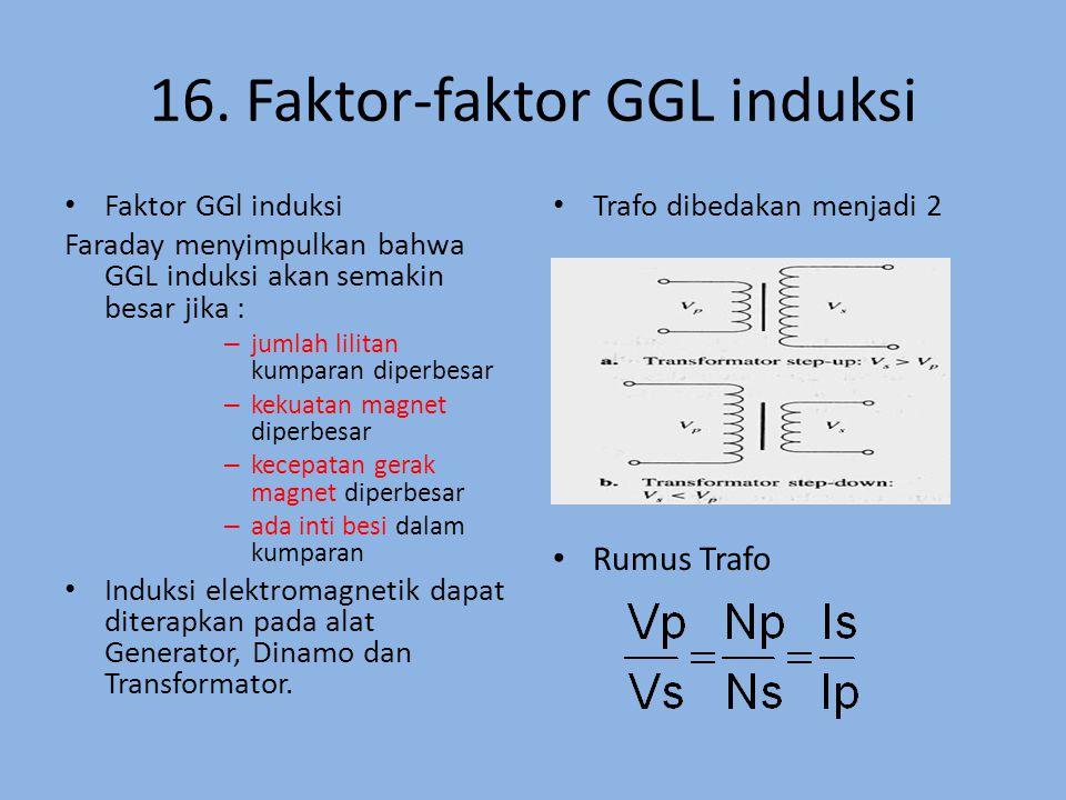 16. Faktor-faktor GGL induksi Faktor GGl induksi Faraday menyimpulkan bahwa GGL induksi akan semakin besar jika : – jumlah lilitan kumparan diperbesar