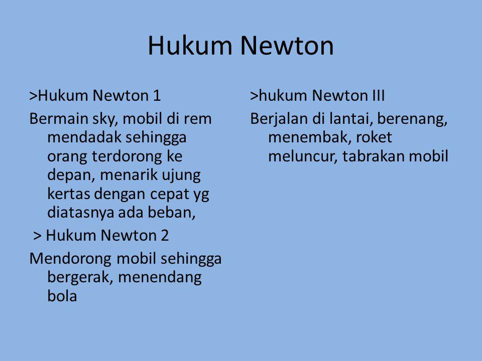 Hukum Newton >Hukum Newton 1 Bermain sky, mobil di rem mendadak sehingga orang terdorong ke depan, menarik ujung kertas dengan cepat yg diatasnya ada beban, > Hukum Newton 2 Mendorong mobil sehingga bergerak, menendang bola >hukum Newton III Berjalan di lantai, berenang, menembak, roket meluncur, tabrakan mobil