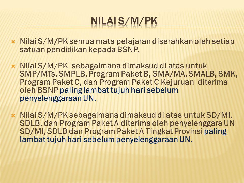  Nilai S/M/PK semua mata pelajaran diserahkan oleh setiap satuan pendidikan kepada BSNP.  Nilai S/M/PK sebagaimana dimaksud di atas untuk SMP/MTs, S