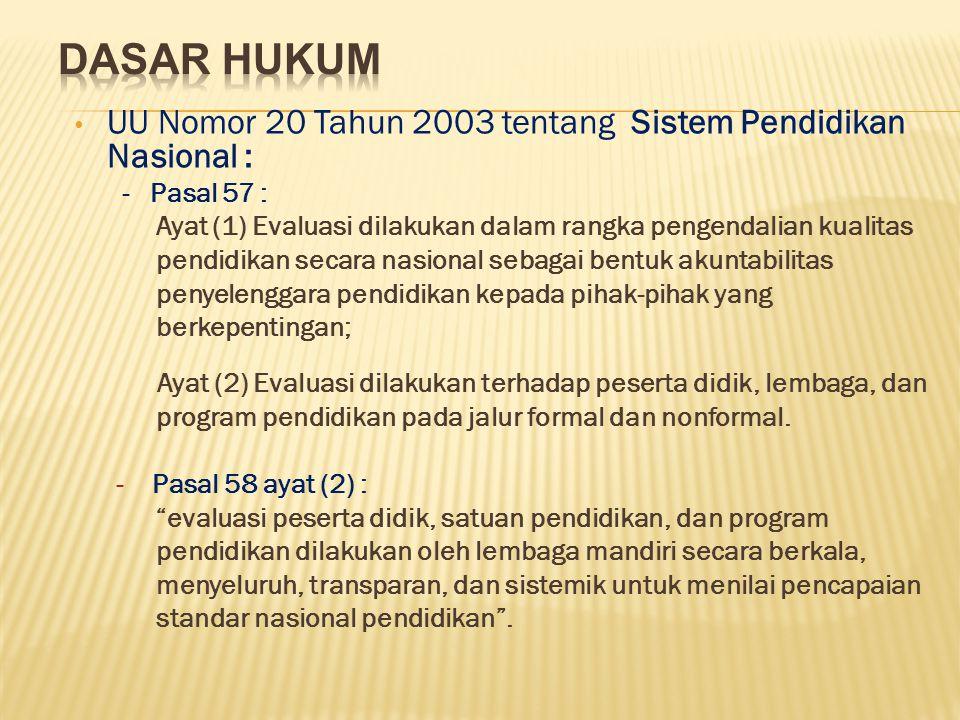UU Nomor 20 Tahun 2003 tentang Sistem Pendidikan Nasional : - Pasal 57 : Ayat (1) Evaluasi dilakukan dalam rangka pengendalian kualitas pendidikan sec