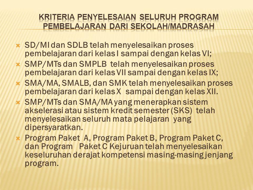  SD/MI dan SDLB telah menyelesaikan proses pembelajaran dari kelas I sampai dengan kelas VI;  SMP/MTs dan SMPLB telah menyelesaikan proses pembelaja