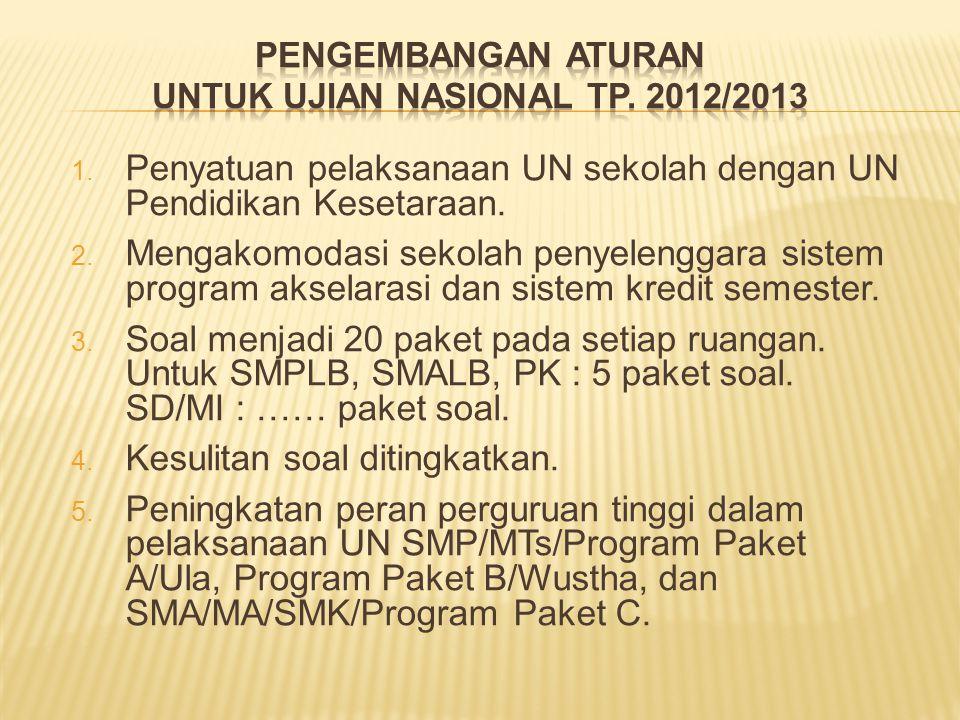  Penyatuan pelaksanaan UN sekolah dengan UN Pendidikan Kesetaraan.  Mengakomodasi sekolah penyelenggara sistem program akselarasi dan sistem kredi
